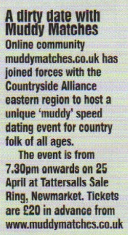 muddy dating See more information about muddy matches ltd, find and apply to jobs that match your skills, and connect with people to advance your career muddy matches is a countryside online dating and rural social events company, founded by sisters emma and lucy reeves in 2006 aimed at people who lead 'muddy.