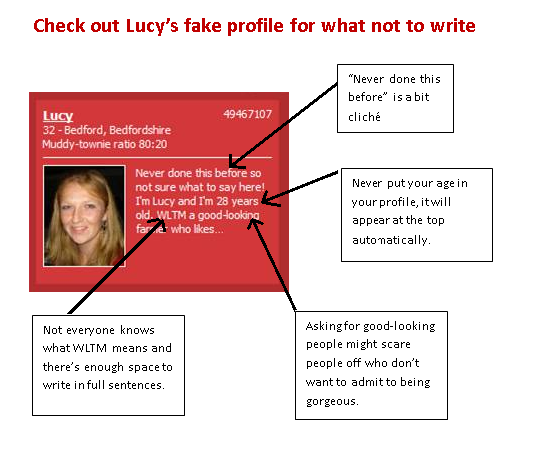 Example of dating profile with arrows pointing to common errors