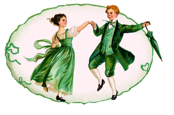 A drawing of a Victorian couple dressed in green dacing together