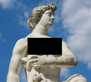 A baroque statue of a woman with a black box covering her breasts
