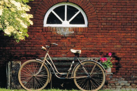 an old bycycle resting on a brick wall