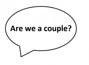 Speech bubble with Are we a couple? written in it