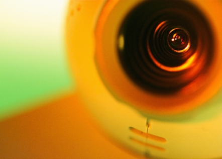 A close up of a webcam
