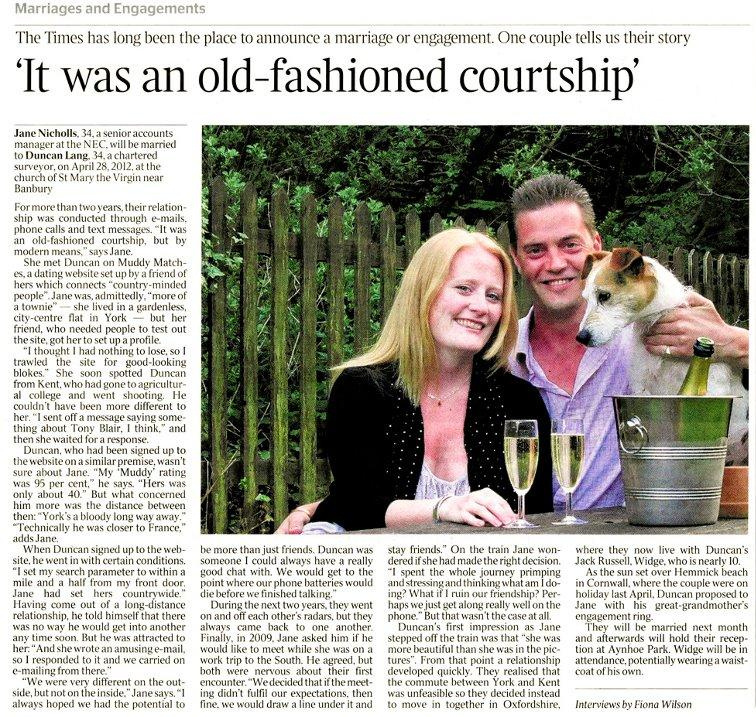 Jane and Duncan in The Times