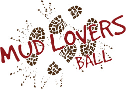 The words mud lovers ball on top of muddy foot prints