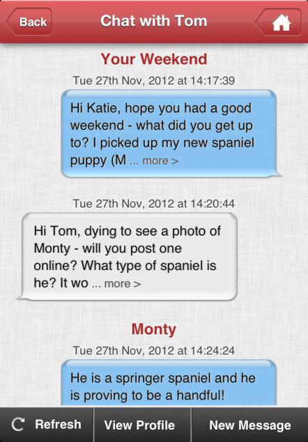 A sample of the App's messaging function, showing a conversation