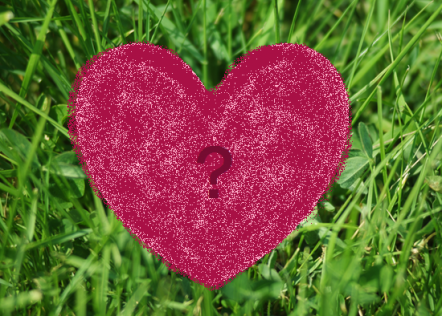 A maroon coloured heart with a question mark on a grass background