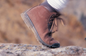 A brown leather hicking boot