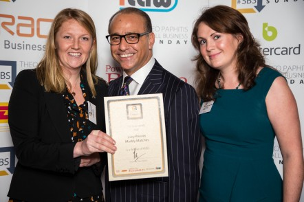 MM's Lucy with Theo Paphitis and MM's Heather accepting their SBS award