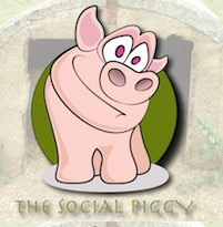 The Social Piggy logo with a pink cartoon pig