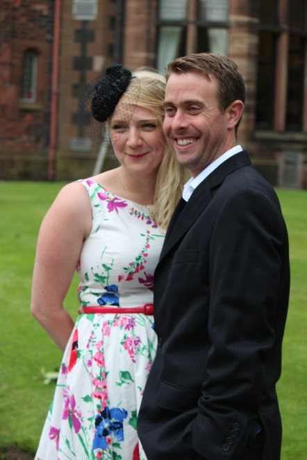 Beccy and Darren at a wedding.